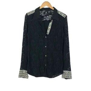 BUCKLE BKE BOUTIQUE | Black Beaded Lace Shirt
